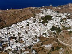 Chora village, patmos, greece, aerial view Stock Photos