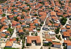 traditional rural greek village, aerial view - stock photo