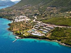 resorts at east lefkas, greece, aerial view. - stock photo