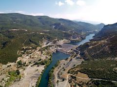 river dam, aerial view - stock photo