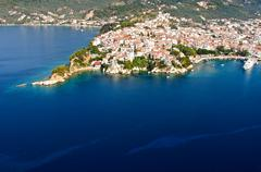 Stock Photo of skiathos town aerial view