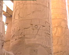 Stone column with hieroglyphics in Karnak temple Stock Footage