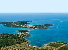 Shoal and peninsula, aerial view Stock Photos