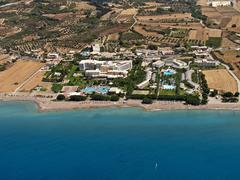 resorts in rhodes, greece, aerial view - stock photo