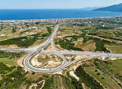 Highway junction, aerial view Stock Photos