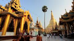 Shwedagon Pagoda Temple, Burma Stock Footage