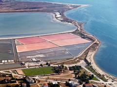 Salt evaporation ponds, aerial view Stock Photos