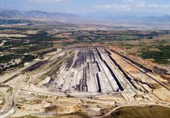 surface coal mine, aerial view - stock photo