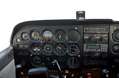 cockpit of light, private airplane, flying at 5500 feet - stock photo