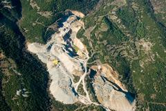 Stock Photo of stone quarry, aerial view.