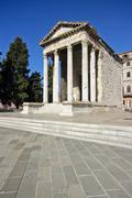 Roman temple Augustus - stock photo
