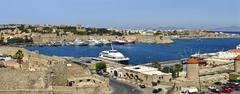 Port and castle of rhodes, greece Stock Photos