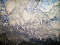 Stock Photo of stalactites, dripstones,at the ceiling of cave.