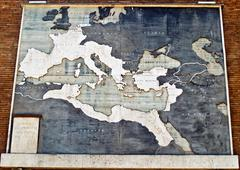 roman empire map in marble, italy - stock photo