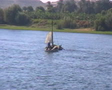 Small fishing boat on Nile River - stock footage