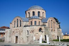 Byzantine church of kosmosotira, feres, greece Stock Photos