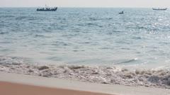 Fishermen boats in sea - Kerala India Stock Footage