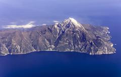 Mount athos, greece, aerial view Stock Photos