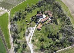 Aerial of monastery in loutros, veria, greece Stock Photos
