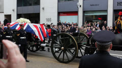 Stock Video Footage of Baroness Margaret Thatcher Funeral Carriage