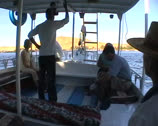 Stock Video Footage of Passengers on a small egyptian gulet