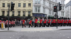 Bearskin Foot Guards marching at Thatcher funeral Stock Footage