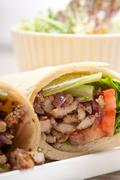 kafta shawarma chicken pita wrap roll sandwich - stock photo