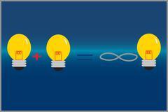 Idea plus another equal infinite ideas concept - stock illustration