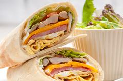 club sandwich pita bread roll - stock photo