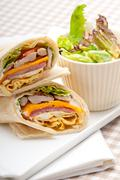 Stock Photo of club sandwich pita bread roll