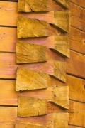 constructive details of a wooden church from Romania - stock photo