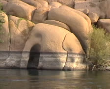 Elephant-shaped rock on the banks of the Nile River Stock Footage
