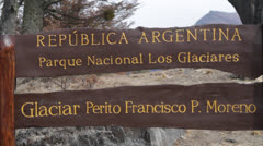 Argentina, Calafate, Los Glaciares National Park Sign Stock Footage