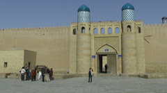 Gate and wall of Kunya Ark Citadell in Khiva Stock Footage