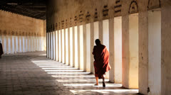 Monk dressed in traditional Robe, Burma  3 Stock Footage