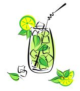 Iced mojito with lime and mint. alcohol cocktail in glass with straw Stock Illustration
