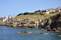 Coastline of Banyuls-sur-Mer in France Stock Photos
