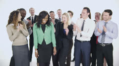 Stock Video Footage of Happy, diverse group of business people isolated on white