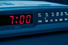 alarm radio clock. time to wake up - stock photo