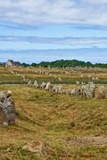 Prehistoric megalithic menhirs alignment in carnac, brittany, france Stock Photos