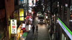 Night narrow streets of Tokyo, Japan Stock Footage