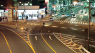 Night intersection of city roads with cars, Tokyo, Japan Stock Footage