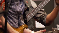 Two guitar player on stage Stock Footage