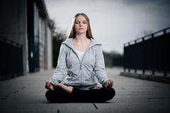 Young girl meditating Stock Photos