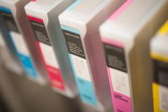 detail of inkjet printer cartridges - stock photo