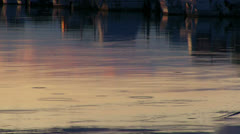 Drops of rain on the surface of the water with the reflection of the sunset Stock Footage