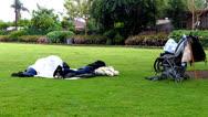 Homeless Men Sleeping In Los Angeles Park 1 Stock Footage