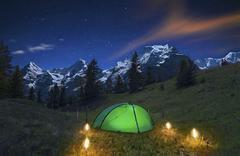 Romantic Night in the Alps Stock Photos