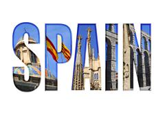 Spain text with different tourist spots Stock Illustration
