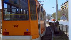 Antique Tram Passing in Europe Crane Shot HD Stock Footage